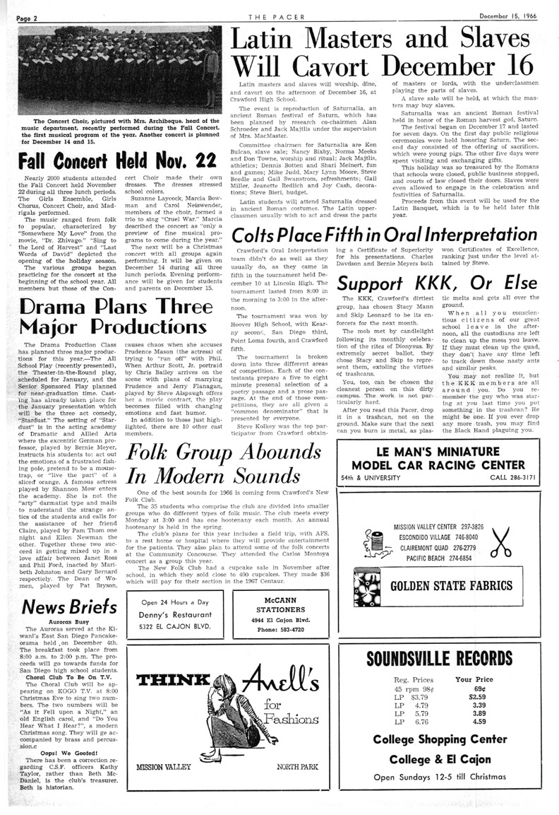 Crawford High Pacer December 16, 1966