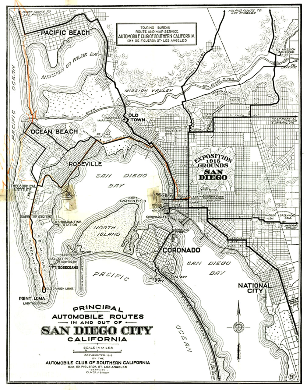 Vintage San Diego Map.Automobile Club Of Southern California Maps Of San Diego
