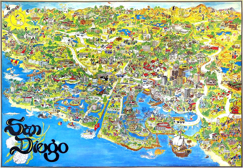 1977 San Diego illustrated map